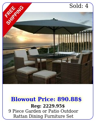 piece garden or patio outdoor rattan dining furniture se