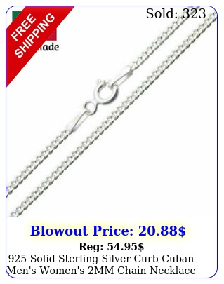 solid sterling silver curb cuban men's women's mm chain necklace ital