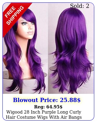 wigood inch purple long curly hair costume wigs with air bangs free cap kid