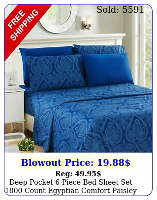 deep pocket piece bed sheet set count egyptian comfort paisley sheet se