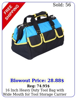 inch heavy duty tool bag with wide mouth tool storage carrier bag blu