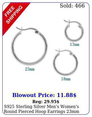 s sterling silver men's women's round pierced hoop earrings mm mm m