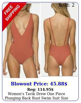 women's tavik drew one piece plunging back rust swim suit size larg