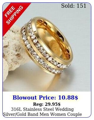 l stainless steel wedding silvergold band men women couple cz ring siz