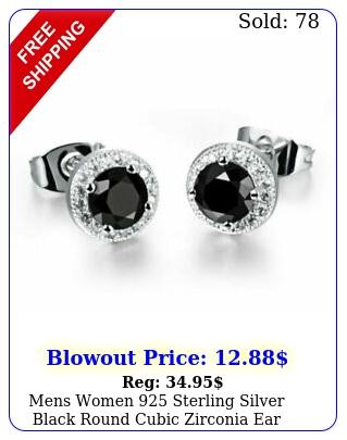 mens women sterling silver black round cubic zirconia ear studs earrings m