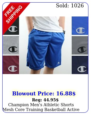 champion men's athletic shorts mesh core training basketball active with pocket