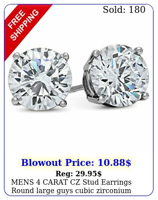mens carat cz stud earrings round large guys cubic zirconium white gold fille