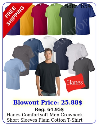 hanes comfortsoft men crewneck short sleeves plain cotton tshirt o pac