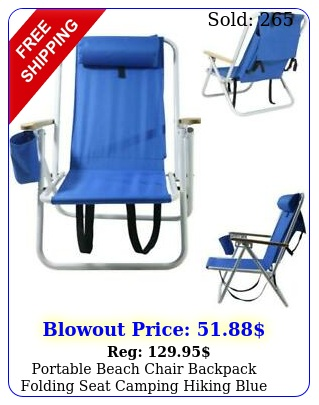 portable beach chair backpack folding seat camping hiking blue solid construc