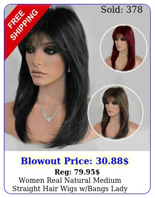 women real natural medium straight hair wigs wbangs lady party cosplay full wi