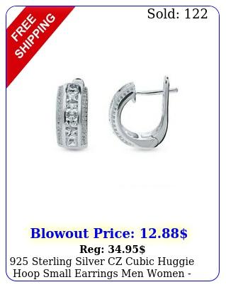 sterling silver cz cubic huggie hoop small earrings men women gif