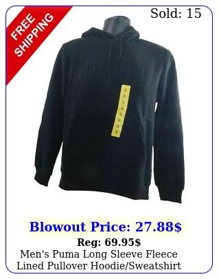 men's puma long sleeve fleece lined pullover hoodiesweatshirt wpocke
