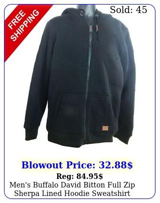 men's buffalo david bitton full zip sherpa lined hoodie sweatshir