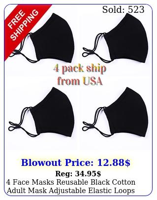 face masks reusable black cotton adult mask adjustable elastic loops washabl