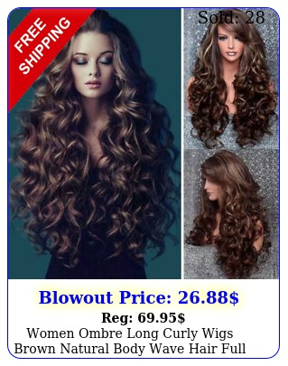 women ombre long curly wigs brown natural body wave hair full wig cosplay u