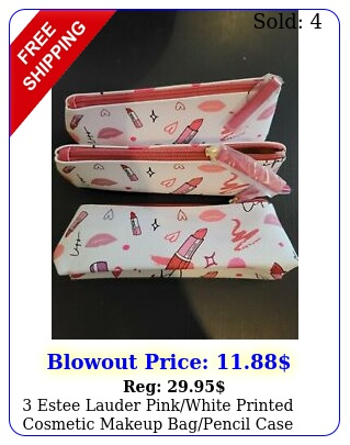 estee lauder pinkwhite printed cosmetic makeup bagpencil cas