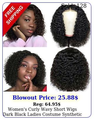 women's curly wavy short wigs dark black ladies costume synthetic brazilian hai