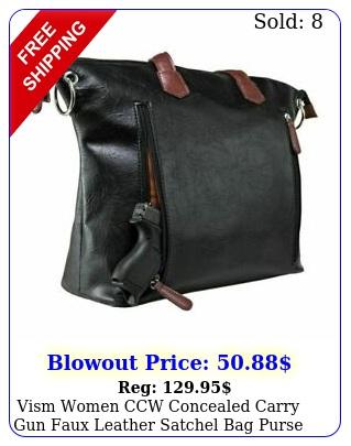 vism women ccw concealed carry gun faux leather satchel bag purse black wbrow