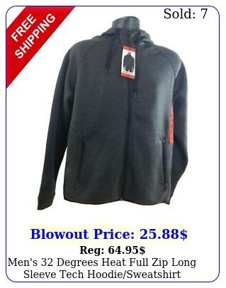 men's degrees heat full zip long sleeve tech hoodiesweatshirt wpocket