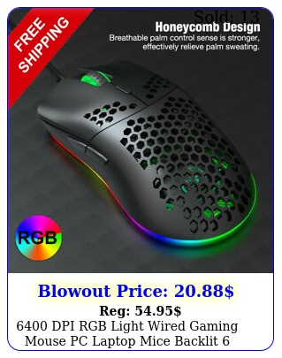 dpi rgb light wired gaming mouse pc laptop mice backlit buttons p