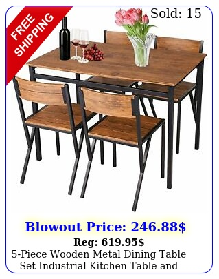 piece wooden metal dining table set industrial kitchen table chair