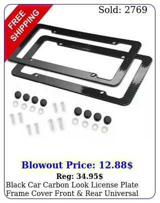 black car carbon look license plate frame cover front rear universa