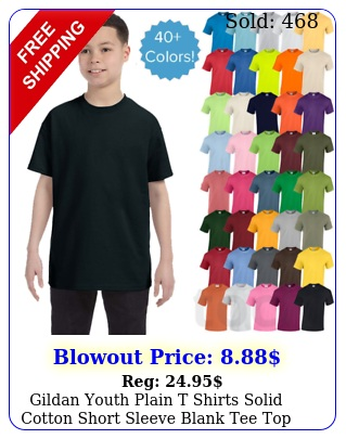 gildan youth plain t shirts solid cotton short sleeve blank tee top xsxl g