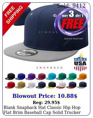 blank snapback hat classic hip hop flat brim baseball cap solid trucker arm