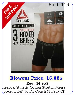 reebok athletic cotton stretch men's boxer brief no flypouch pack of pc