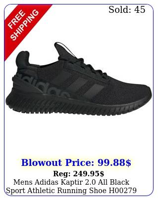 mens adidas kaptir all black sport athletic running shoe h sizes