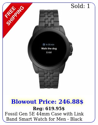 fossil gen e mm case with link band smart watch men black stainles