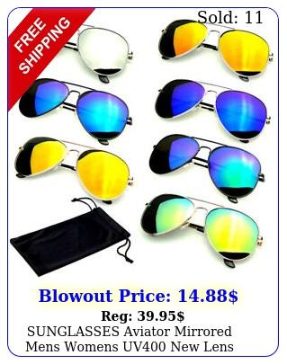 sunglasses aviator mirrored mens womens uv lens frame color retro vintag
