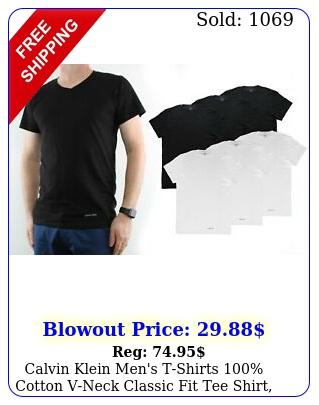 calvin klein men's tshirts cotton vneck classic fit tee shirt pac