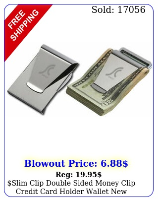 slim clip double sided money clip credit card holder wallet stainless stee