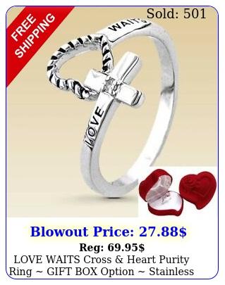 love waits cross heart purity ring gift option stainless steel ne