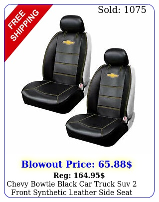 chevy bowtie black car truck suv front synthetic leather side seat covers se