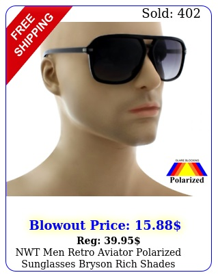 nwt men retro aviator polarized sunglasses bryson rich shades square fram