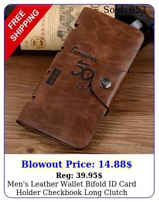 men's leather wallet bifold id card holder checkbook long clutch billfold purs