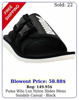 puma wilo lux nylon slides mens sandals casual  blac