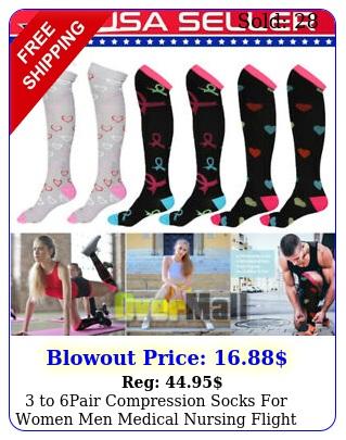to pair compression socks women men medical nursing flight sport stockin