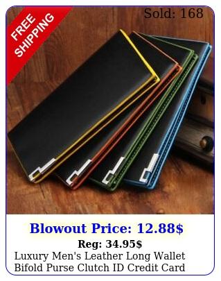 luxury men's leather long wallet bifold purse clutch id credit card holder u