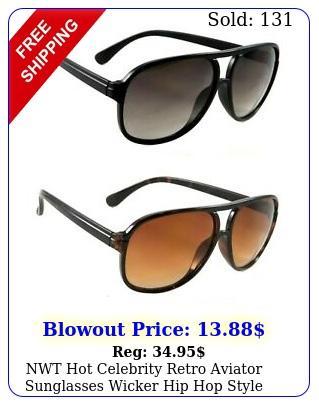 nwt hot celebrity retro aviator sunglasses wicker hip hop style smoke lens shad