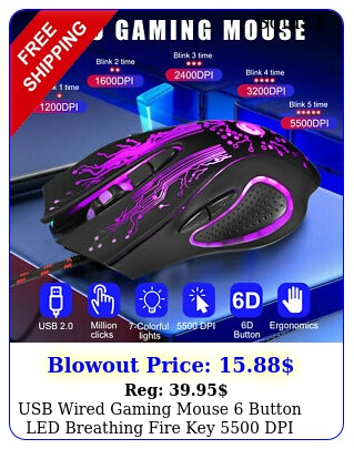 usb wired gaming mouse button led breathing fire key dpi mice laptop p