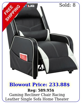 gaming recliner chair racing leather single sofa home theater seat whit