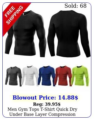 men gym tops tshirt quick dry under base layer compression shirts long sleev