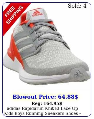 adidas rapidarun knit el lace up kids boys running sneakers shoes   gre