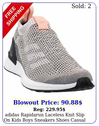 adidas rapidarun laceless knit slip on  kids boys sneakers shoes casual