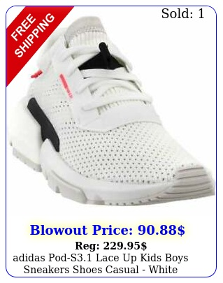 adidas pods lace up  kids boys sneakers shoes casual  whit