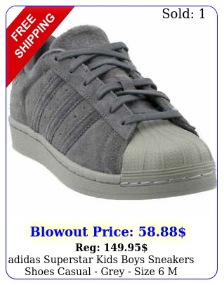 adidas superstar  kids boys sneakers shoes casual  grey size