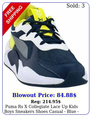 puma rs x collegiate lace up  kids boys sneakers shoes casual  blue siz